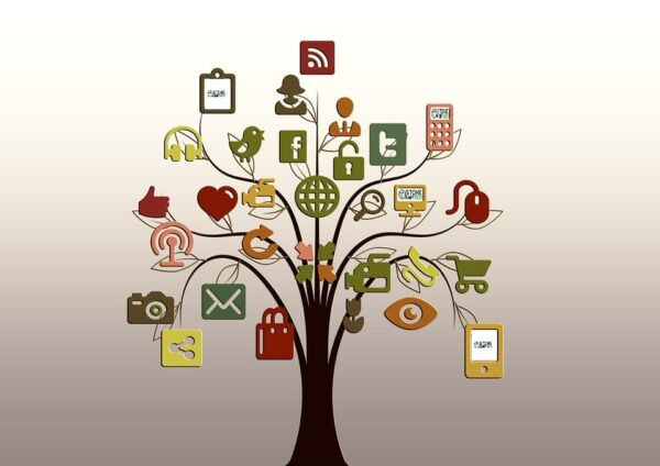 search engine optimization - seo - tree with tech leaves
